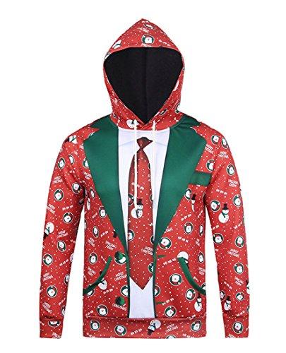 men 3D Druck Sweatshirts Weihnachten Pullover mit Aufdruck Herbst Hemd Kapuzenpullover Langarm Top Jumper Shirt Anzug XXL (Halloween-deko-ideen Billig)