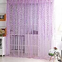 Yooyoo Willow pattern voile tulle camera finestra screening tenda sheer panel Drapes light (Wire Tulle)