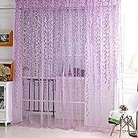 Yooyoo Willow pattern voile tulle camera finestra screening tenda sheer panel Drapes light purple