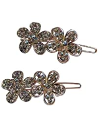 Pooja Trendz 2 Pcs Classic Party Wear White Stone Flower Small Size Slider Lock Hair Pin-Hair Clip.