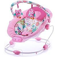 Babywippe mit Musik und Vibration Babyschaukel rosa M/ädchen einstellbare Liegefl/äche und Spielebogen stabiles Metallgestell