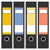 4 x farbige Design Akten-Ordner Etiketten / Aufkleber / Rücken Sticker / Farben im Mix Frühlingsfarben / für breite Ordner / selbstklebend / 6cm breit