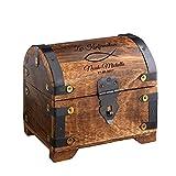 Casa Vivente Geldschatztruhe mit Gravur zur Konfirmation – Motiv Fisch – Personalisiert mit [Namen] und [Datum] – Bauernkasse – Dunkles Holz – Verpackung für Geldgeschenke – Geschenke für Konfirmanden