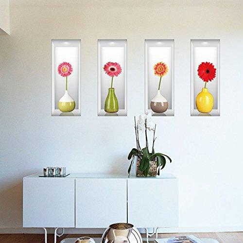 3D Simulationsvase Dimensional Dekoration Wand-Aufkleber 58 * 90cm (vier Vasen 58 * 22cm als Satz) Schlafzimmerküchehintergrund Wand-Aufkleber