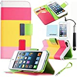 ZAFOORAH® Case Cover for Apple iPod Touch 4 4th Generation Multiple designs +Free Stylus+Screen Protector+Microfiber Cloth (Multi-Colour Stand Wallet - PINK)