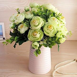 XCZHJ Flores Decorativas Artificiales Florero de Camelia Artificial Cerámica Estilo Rural Verde A Los Productos de Flores Incluyen:Flores Artificiales,Flores Artificiales Blancas.