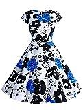 Wedtrend Damen 50er Hepburn Stil Vintage Cap Sleeves Dot Einfarbig Rockabilly Kleid Swing Kleider WTP10002 Black Blue S