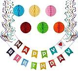 Geburtstagsdeko Set bunt - Happy Birthday Girlande + Wabenbälle + Luftschlangen - Party Deko für Kindergeburtstag Mädchen oder Junge