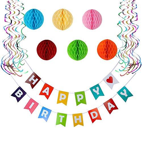 (Geburtstagsdeko Set bunt - Happy Birthday Girlande + Wabenbälle + Luftschlangen - XXL Party Dekoset für Kindergeburtstag Mädchen oder Junge)