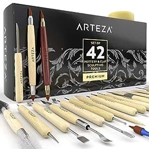 ARTEZA® Set per Scultura Ceramica e Argilla, 42 Strumenti di Modellazione Professionali, Kit Attrezzi per Lavorazione Paste Modellabili