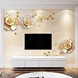Yosot 3D Custom Gold Stieg Geblümten Tapeten Schlafzimmer Minion Tapeten Für Schlafzimmer Tv Großes Wandbild-450 Cmx 300Cm