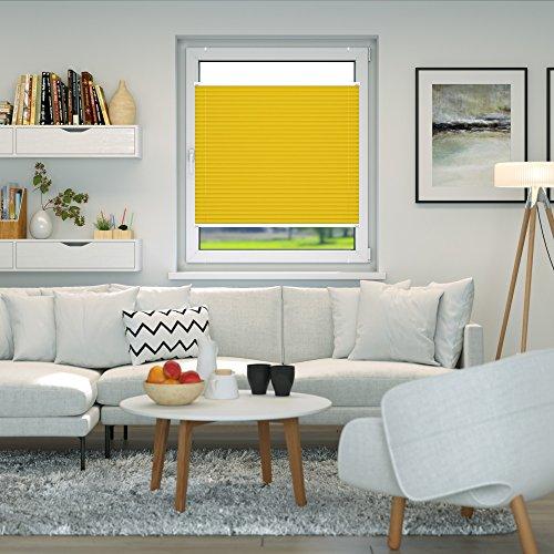 VICTORIA M Plissee Klemmfix ohne Bohren – EasyFix Größe: 100 x 150 cm, Farbe: gelb - 4
