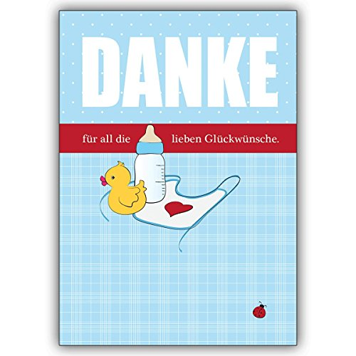 1 Babykarte: Blaue Dankeskarte für Geschenke zur Geburt eines Jungen mit Babyflasche, Entchen • zauberhafte Danksagung für die Glückwünsche und Geschenke zur Geburt Ihres Baby's für Mitarbeiter, Familie