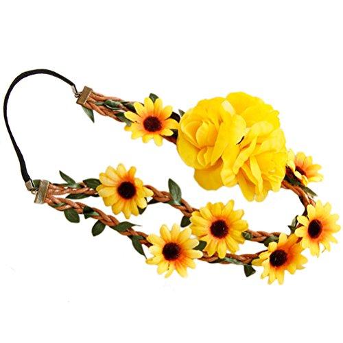 Frcolor Blumen Stirnband Daisy Flower Crown Haarkranz Headpiece Haarband für Festival Party Hochzeit