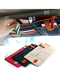 Beige : Car-styling Car Sun Visor Card Package Holder Multifunction In-Car Pocket Organizer Pouch Bag Pocket Auto...