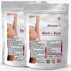 BLOCK & BURN | 500 Kapseln Vorratspackung XXL | CARBBLOCKER (Kohlenhydrat-Blocker) + FATBURNER | No. 1 Ergänzung zur Gewichtsreduktion | Diät - Abnehmen | 100% natürliche Inhaltsstoffe