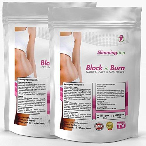 BLOCK & BURN | 500 Kapseln Vorratspackung XXL | CARBBLOCKER (Kohlenhydrat-Blocker) + FATBURNER | No. 1 Ergänzung zur Gewichtsreduktion | Diät - Abnehmen | 100% natürliche Inhaltsstoffe -