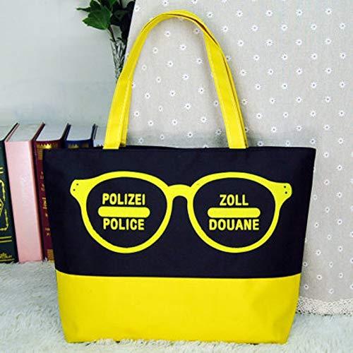 GZXYYY Große Tasche weibliche Umhängetasche Mummy Canvas Tasche Einkaufstasche Umhängetasche grüne Tasche Einkaufstasche Studententasche gelbe Brille LL