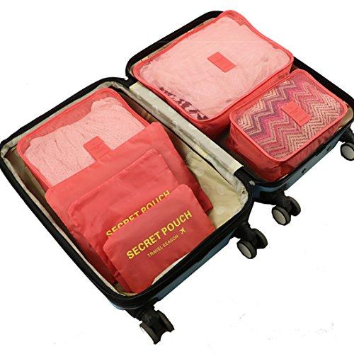 VECHOO Zeit-/platzsparende Kleidertaschen-Set 6-teilig Reise Kleidertaschen Verpackungswürfel organizer Wäschesack Gepäck Kompressionstaschen Tasche in Tasche Taschenorganizer für Kleidung (Rot)