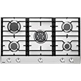 Amica KMG 13167 E Kochfeld Gas / 89 cm / 5-er Allgas-Kochmulde mit Knebeln, 89 cm, mit Wokbrenner / Auf Erdgas 20 mbar eingestellt, umrüstbar auf Flüssiggas 50 mbar, mit Düsenset für die Umrüstung / edelstahl