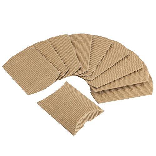 10 scatole a forma di cuscino in cartoncino ondulato grezzo per bomboniere, confetti, regali, matrimoni
