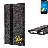 flat.design vegane Handy Tasche Coimbra mit Sonne für Vestel 5000 Dual-SIM - Schutz Case Tasche Filz vegan fair schwarz