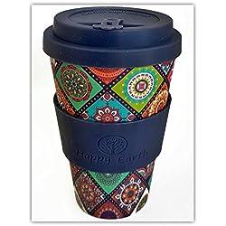 EXOTICA par Happy Earth (tasse de café écologique réutilisable 450ml, faite avec la fibre organique naturelle de bambou, peut être employée comme tasse de voyage ou tasse à café à la maison)