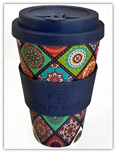 EXOTICA por Happy Earth (Taza de café ecológica reutilizable 450 ml, hecha con fibra de bambú natural orgánica, se puede utilizar como taza de viaje o taza de café casera)