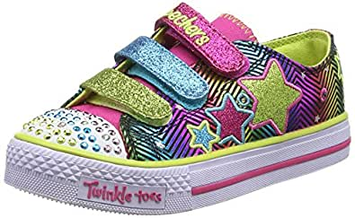 Skechers Girls Shuffles Trainers, Green/Multicoloured, 5 UK Child N-Run