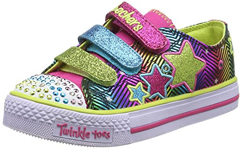 Skechers Girls Shuffles Trainers, Green/Multicoloured, 13 UK Child L-Run