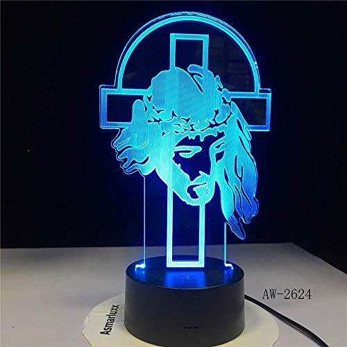 Hirten Psalm Jesus Christus Kreuz USB 3D LED Nachtlicht Geschenke Schreibtisch Kruzifix Tischlampe Schlafzimmer Der Herr ist mein Hirte