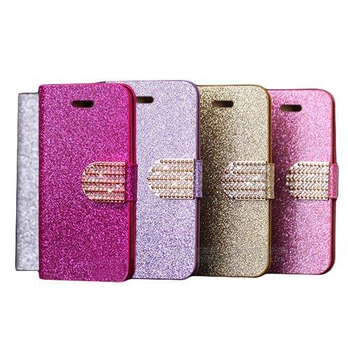 D9Q Bling Wallet Luxus Leder Magnetischen Flip Cover Case Fall Hülle für Apple iPhone 5C Versand mit Tracking Nummer und ein kostenloses Geschenk !!Lila