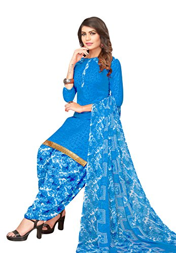 Salwar Studio Women's Blue Synthetic Printed Dress Material with Dupatta-MONSOON-2269