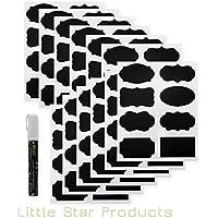 Pizarra Etiquetas Kit pizarra de tiza ~ 96etiquetas y 8G color blanco marcador de tiza líquida 6mm by Little Star ~ grande calidad premium de decorativo Pizarra Pegatinas de Vinilo Impermeable, Apto para Lavavajillas, autoadhesivo, reutilizable, fuerte grande etiquetas adhesivas de pizarra con Wet Borrar Tiza Rotuladores para etiquetas de pizarra ~ Mejor Bundle & Todo en Uno Set.
