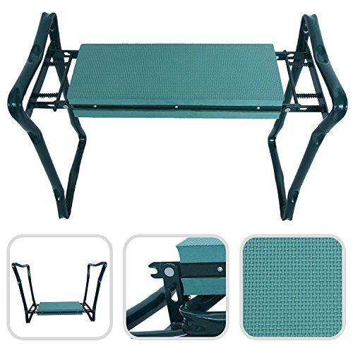 Klappbare Kniebank Gartenbank – komfortable Sitzunterlage aus Schaumkissen mit Füßen aus Stahl