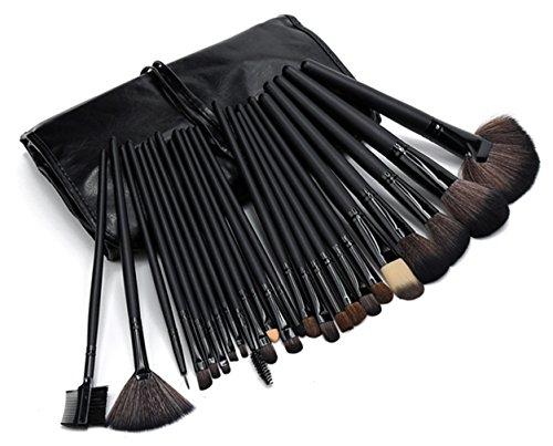 westeng 24Professional natürlicher Holzgriff Kosmetik Make up Pinsel Set mit PU-Leder Reise Tasche Fall