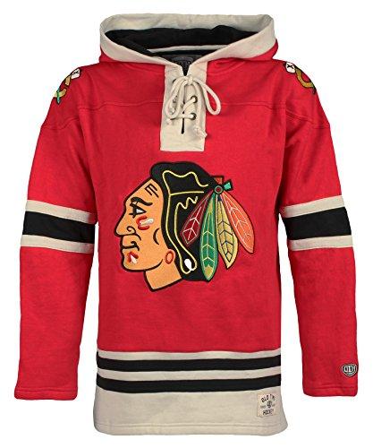 Old Time Hockey-Herrenpullover Kapuzenpullover der NHL, mit Schnürung, Dicker Pullover, Herren, NHL Men Lacer Heavyweight Hoodie, rot, S