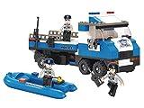 Funstones - Baustein Police Polizei Police Auto LKW Laster + Boot Schlauchboot + Figuren Polizist Bausteine Bausatz Set Bau Steine