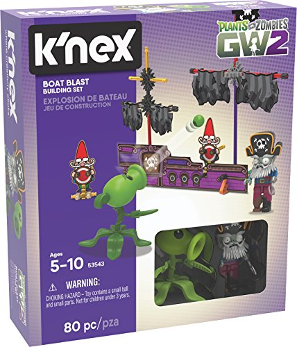 K'Nex 53543 Plants Vs Zombies Boat Blast BAU-Set, Kinderspielzeug (Pflanzen Zombies Figuren)