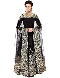 18cdac2d370 Parul Lifestyle Women s Havy Taffeta Silk Stitched Gown With Duppata (Free  Size) Black