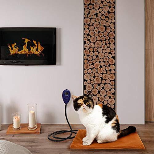 Beslands Heizmatte für Haustiere Hunde und Katzen Heizkissen 15 Watt Sicher und wasserdicht Heizdecke Wärmematt emit 7 einstellbaren Konstante Temperaturen(40 * 30cm) (S)