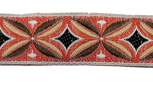 10m Indianer Retro-Borte Webband 16mm breit Farbe: Terracotta-Braun-Hellbraun-Weiss-Schwarz von 1A-Kurzwaren TH15-81-7