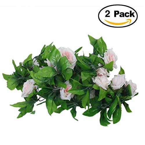 ULTNICE 2 Stück Seide Rosen-Girlande Blumengirlande Kunstpflanze Kunstblume Girlande Deko