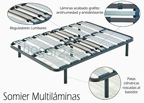HOGAR 24 Somier multiláminas con reguladores lumbares + Patas 32 cm, Metal, 135 x 190 cm