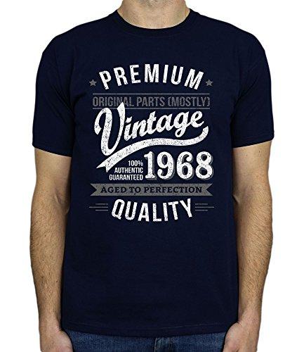 1968 Vintage Year - Aged to Perfection - 50 Cumpleaños Años - Regalo de Cumpleaños Camiseta para Hombre - Azul Marino XL