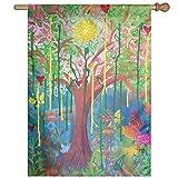 Dozili-Flagge, bunter Baum, Lebensdekoration, Garten-Flagge, wetterfest und doppelseitig, Polyester, bunt, 12.5