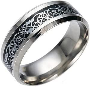 Amesii, anello da uomo, alla moda, in titanio e acciaio, superficie liscia, per matrimonio, regalo