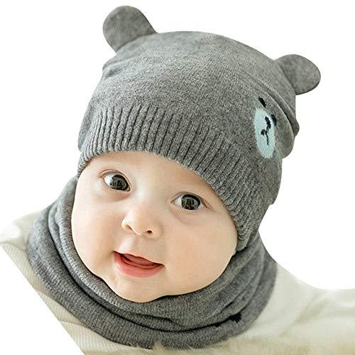 Y56 Neugeborene Winter Warm Crochet Strickmütze Beanie Cap Schal Set Neugeborenes Kleinkind Kinder Mädchen Jungen Baby Cartoon Hut Kappen Häkelstrick Wintermütze (A) -