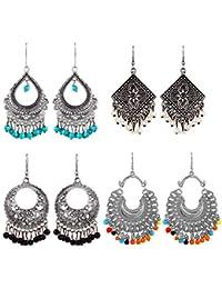 YouBella Earrings for Women Stylish Jewellery Earrings Combo of Four Afghani Kashmiri Jhumka earrings Fancy Party wear ear rings for Girls and Women