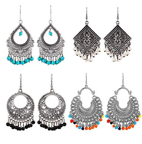 YouBella Stylish Party Wear Jewellery Oxidized Silver Jhumkis Earrings for Women (Multi-Colour)(YBEAR_32196)